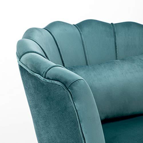 WamieHomy Armchair Velvet Upholstered Lotus Oyster Shell Occasional Tub Chair for Living Room Bedroom Reception… 3