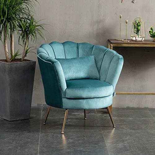 WamieHomy Armchair Velvet Upholstered Lotus Oyster Shell Occasional Tub Chair for Living Room Bedroom Reception… 4