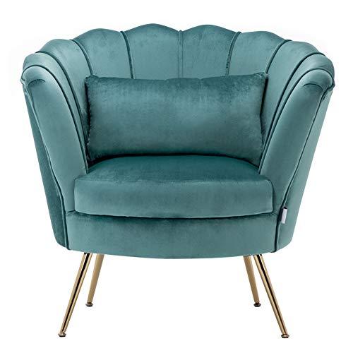 WamieHomy Armchair Velvet Upholstered Lotus Oyster Shell Occasional Tub Chair for Living Room Bedroom Reception… 5