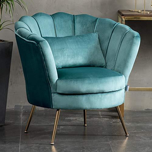 WamieHomy Armchair Velvet Upholstered Lotus Oyster Shell Occasional Tub Chair for Living Room Bedroom Reception… 6