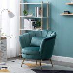 WamieHomy Armchair Velvet Upholstered Lotus Oyster Shell Occasional Tub Chair for Living Room Bedroom Reception… 22