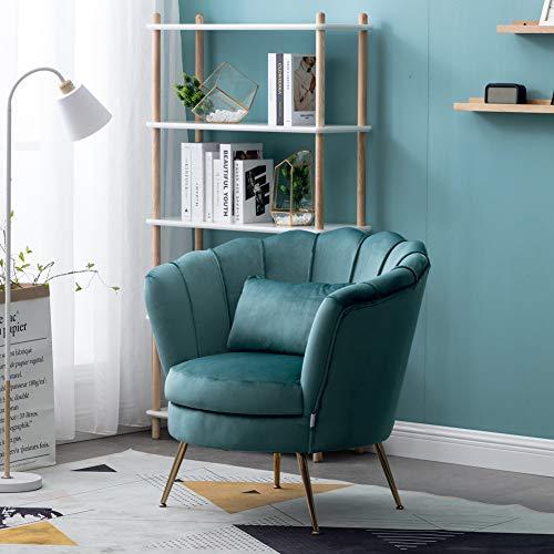 WamieHomy Armchair Velvet Upholstered Lotus Oyster Shell Occasional Tub Chair for Living Room Bedroom Reception… 7