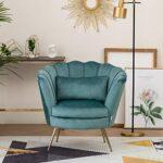 WamieHomy Armchair Velvet Upholstered Lotus Oyster Shell Occasional Tub Chair for Living Room Bedroom Reception… 23