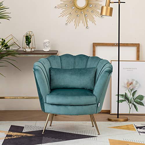 WamieHomy Armchair Velvet Upholstered Lotus Oyster Shell Occasional Tub Chair for Living Room Bedroom Reception… 8