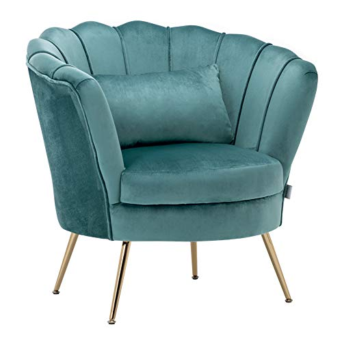 WamieHomy Armchair Velvet Upholstered Lotus Oyster Shell Occasional Tub Chair for Living Room Bedroom Reception… 1