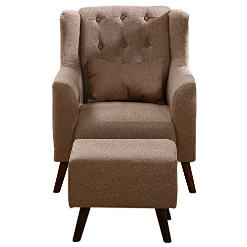 WarmieHomy Linen Fabric Armchair Buttoned Wing Back Occasional Accent Chair with Footstool for Bedroom Living Room… 4