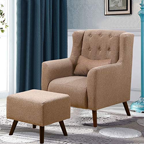 WarmieHomy Linen Fabric Armchair Buttoned Wing Back Occasional Accent Chair with Footstool for Bedroom Living Room… 6