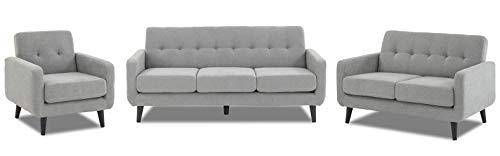 WeDoSofas Grey Sofa Fabric 2 Seater - New, Light Grey, Wooden Legs 5