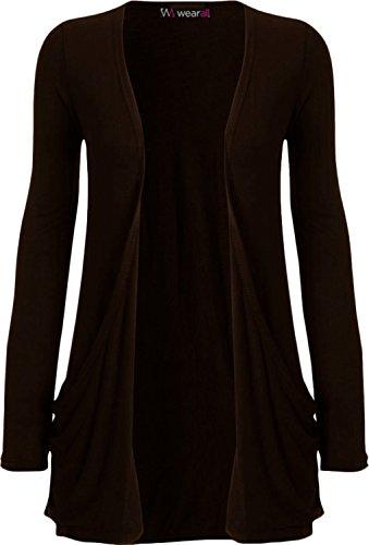 WearAll - Ladies Long Sleeve Pocket Cardigan Womens Top Sizes 8-22 1