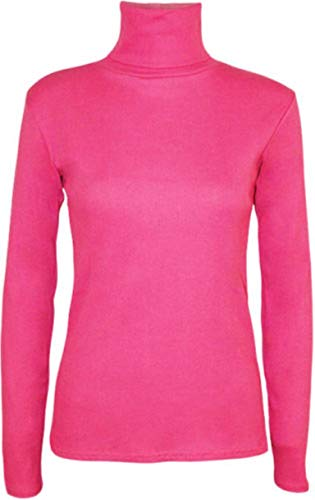 WearAll New Ladies Polo Neck Stretch Long Sleeve Womens Plain Top Jumper 8-14 1