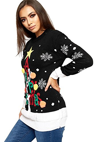 WearAll Women's Knitted Merry Christmas Long Sleeve Xmas Tree Ladies Pom Jumper 8-24 3