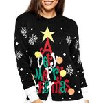 WearAll Women's Knitted Merry Christmas Long Sleeve Xmas Tree Ladies Pom Jumper 8-24 9