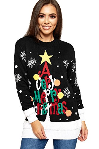 WearAll Women's Knitted Merry Christmas Long Sleeve Xmas Tree Ladies Pom Jumper 8-24 1