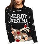 WearAll Women's Knitted Merry Christmas Xmas Snowflake Ladies Reindeer Pom Jumper 12-24 10