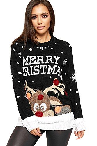 WearAll Women's Knitted Merry Christmas Xmas Snowflake Ladies Reindeer Pom Jumper 12-24 3