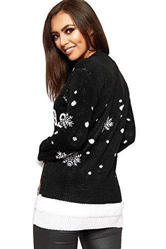 WearAll Women's Knitted Merry Christmas Xmas Snowflake Ladies Reindeer Pom Jumper 12-24 4