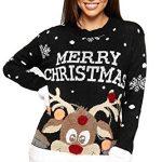 WearAll Women's Knitted Merry Christmas Xmas Snowflake Ladies Reindeer Pom Jumper 12-24 9