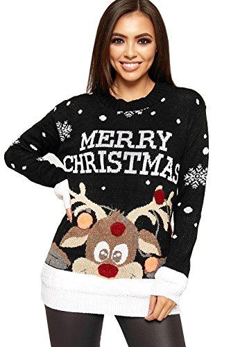 WearAll Women's Knitted Merry Christmas Xmas Snowflake Ladies Reindeer Pom Jumper 12-24 1