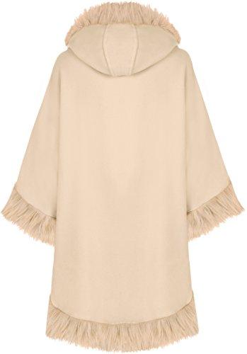 WearAll Women's Plain Faux Fur Trim Hood Cape Shawl Cloak Poncho Coat Top 8-20 3