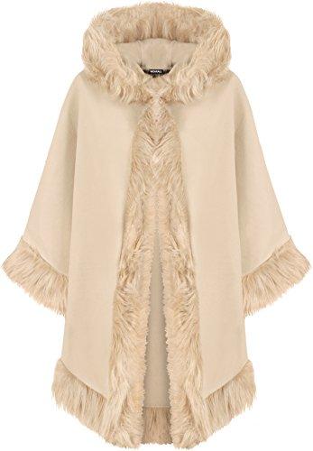 WearAll Women's Plain Faux Fur Trim Hood Cape Shawl Cloak Poncho Coat Top 8-20 1