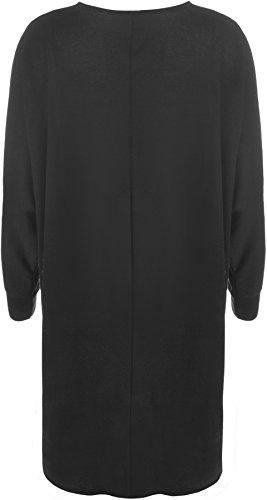 WearAll Women's Plus Plain Oversized Knit Long Sleeve Batwing Dip Hem Baggy Ladies Top 12-26 3