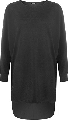 WearAll Women's Plus Plain Oversized Knit Long Sleeve Batwing Dip Hem Baggy Ladies Top 12-26 1