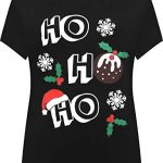 WearAll Women's Plus Short Sleeve Holly Snowflake Christmas Print Long Top Ladies T-Shirt 14-28 7