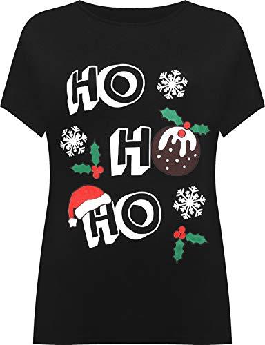 WearAll Women's Plus Short Sleeve Holly Snowflake Christmas Print Long Top Ladies T-Shirt 14-28 1