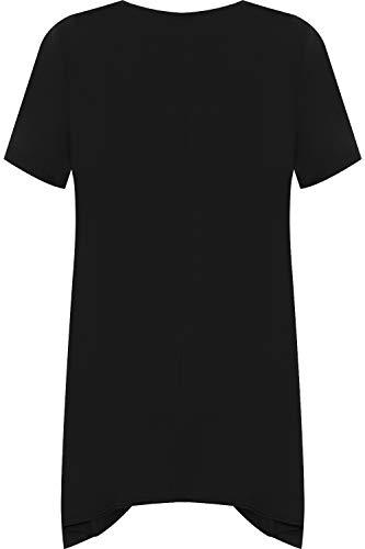 WearAll Women's Plus Short Sleeve Reindeer Snowflake Hanky Hem Long Top Ladies T-Shirt 14-28 3