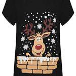 WearAll Women's Plus Short Sleeve Reindeer Snowflake Hanky Hem Long Top Ladies T-Shirt 14-28 7
