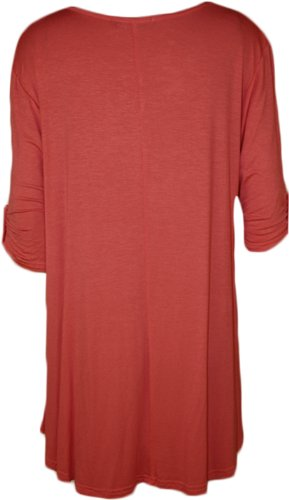 WearAll Womens Plus Size Scoop Neck Short Sleeve Flared Ladies Long Plain Top Sizes 14-28 3