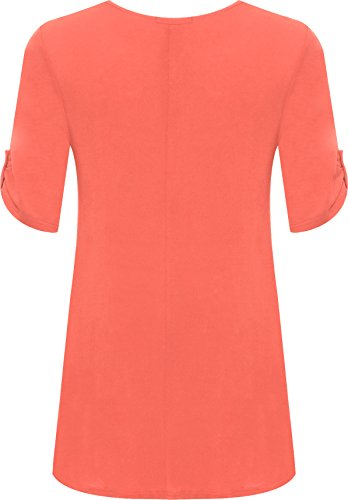 WearAll Womens Plus Size Scoop Neck Short Sleeve Flared Ladies Long Plain Top Sizes 14-28 4