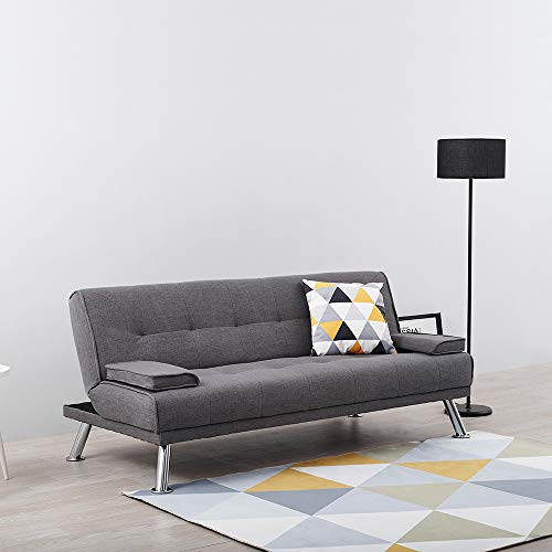Wellgarden 3 Seater Sofa Bed Sleeper Sofa Couch Fabric Sofabed Modern Design Sofa Single Bed with Chrome Leg New Black 3