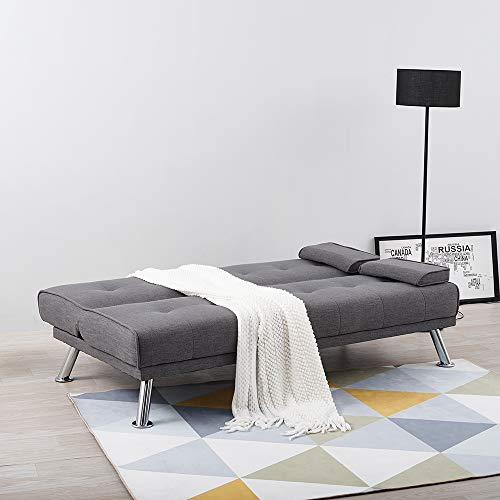 Wellgarden 3 Seater Sofa Bed Sleeper Sofa Couch Fabric Sofabed Modern Design Sofa Single Bed with Chrome Leg New Black 4