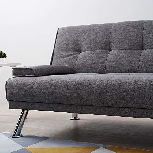 Wellgarden 3 Seater Sofa Bed Sleeper Sofa Couch Fabric Sofabed Modern Design Sofa Single Bed with Chrome Leg New Black 5