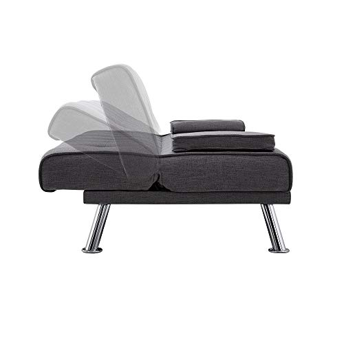 Wellgarden 3 Seater Sofa Bed Sleeper Sofa Couch Fabric Sofabed Modern Design Sofa Single Bed with Chrome Leg New Black 7