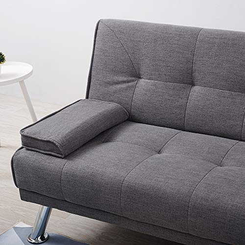 Wellgarden 3 Seater Sofa Bed Sleeper Sofa Couch Fabric Sofabed Modern Design Sofa Single Bed with Chrome Leg New Black 8
