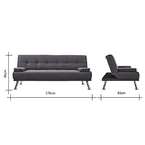 Wellgarden 3 Seater Sofa Bed Sleeper Sofa Couch Fabric Sofabed Modern Design Sofa Single Bed with Chrome Leg New Black 9