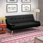 Wellgarden 3 Seater Sofa Bed Sleeper Sofa Couch Fabric Sofabed Modern Design Sofa Single Bed with Chrome Leg New Black 36