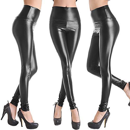 Women High Waisted Faux PU Leather Leggings Stretchy Slim Fit Trousers 4