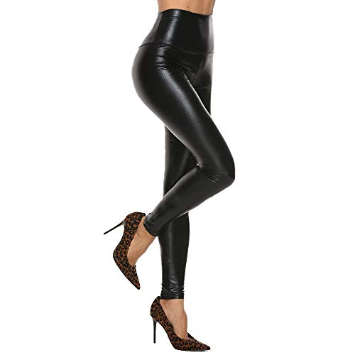 Women High Waisted Faux PU Leather Leggings Stretchy Slim Fit Trousers 5