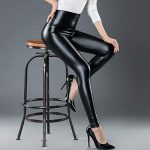 Women High Waisted Faux PU Leather Leggings Stretchy Slim Fit Trousers 19