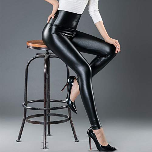 Women High Waisted Faux PU Leather Leggings Stretchy Slim Fit Trousers 6