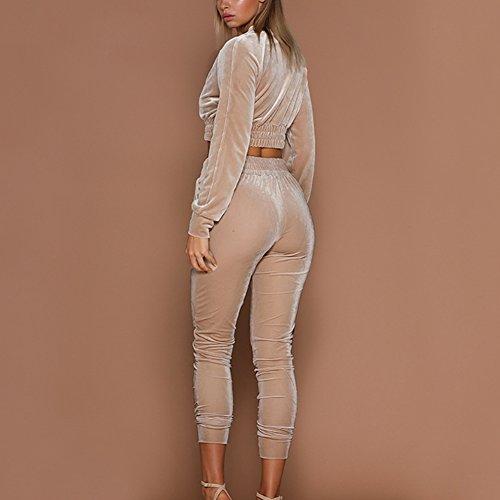 Women Velour Velvet Tracksuit Zip Up Crop Tops + Long Pants Playsuit Sport Gym Jogging Suit Lounge Wear 7