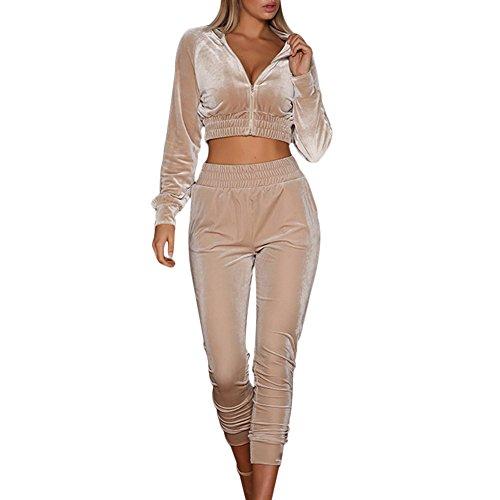 Women Velour Velvet Tracksuit Zip Up Crop Tops + Long Pants Playsuit Sport Gym Jogging Suit Lounge Wear 1