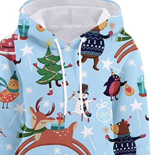 Womens Christmas Pattern Print Long Sleeve Pullover Hoodie Jumper Sweater Sweatshirt Tops Blouse Xmas Gifts for Women 3