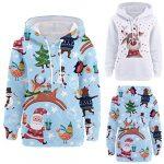 Womens Christmas Pattern Print Long Sleeve Pullover Hoodie Jumper Sweater Sweatshirt Tops Blouse Xmas Gifts for Women 19
