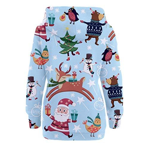 Womens Christmas Pattern Print Long Sleeve Pullover Hoodie Jumper Sweater Sweatshirt Tops Blouse Xmas Gifts for Women 5