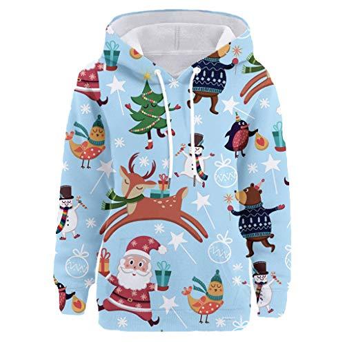 Womens Christmas Pattern Print Long Sleeve Pullover Hoodie Jumper Sweater Sweatshirt Tops Blouse Xmas Gifts for Women 1
