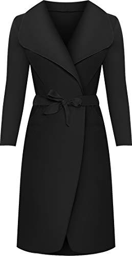 Womens Long Belt Pocket Open Coat Ladies Celebrity Waterfall Jacket Cape 8-14 1